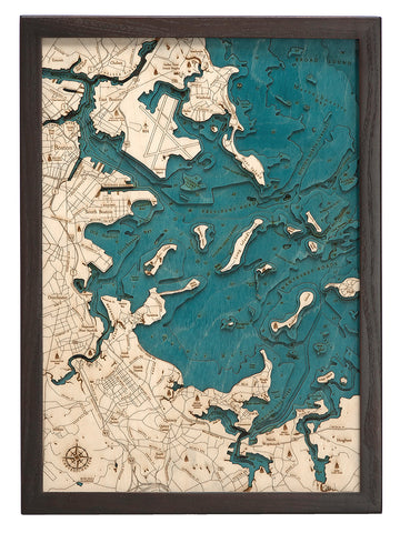 "Boston Harbor, Massachusetts 3-D Nautical Chart, 13""x17"""
