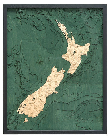 "New Zealand 3-D Nautical Wood Chart, Large, 24.5"" x 31"""