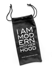 I AM MODERN MOTHERHOOD® BLACK ROUND SUNGLASSES - BLUE MIRROR LENSES
