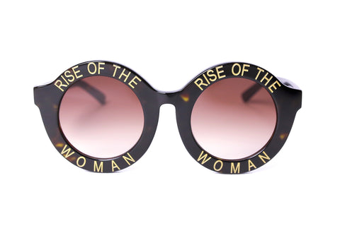 RISE OF THE WOMAN® TORTOISE SHELL AND GOLD ROUND SUNGLASSES