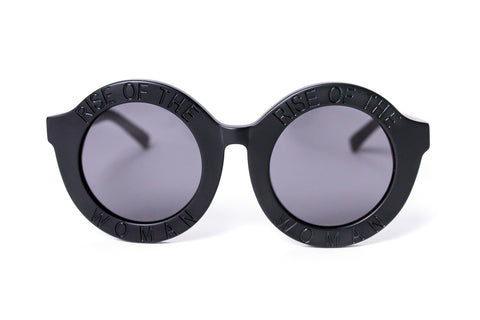 RISE OF THE WOMAN® MATTE BLACK ROUND SUNGLASSES