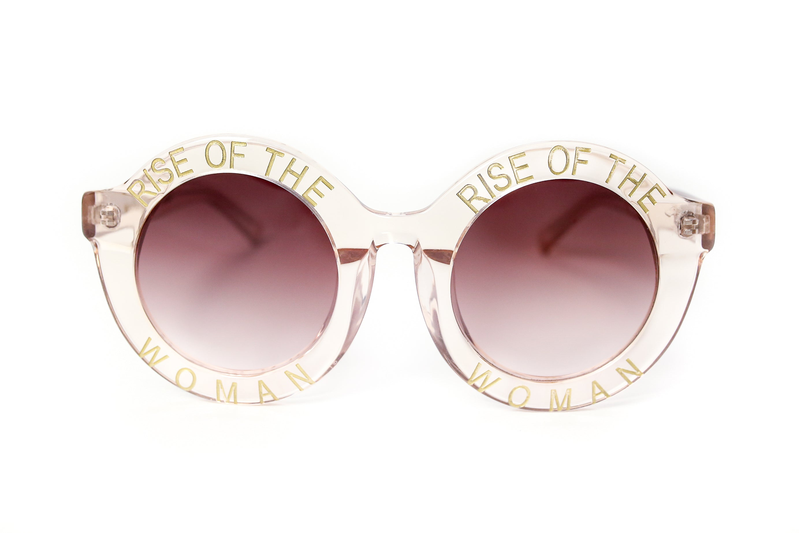 RISE OF THE WOMAN® TRANSLUCENT CHAMPAGNE AND GOLD ROUND SUNGLASSES