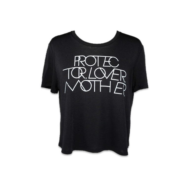 INTERLOCK PROTECTOR LOVER MOTHER® LOOSE CROP TEE - BLACK
