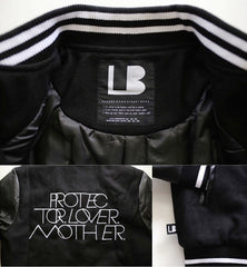 INTERLOCK PROTECTOR LOVER MOTHER® WOMENS BLACK/WHITE VARSITY JACKET WITH VEGAN LEATHER SLEEVES