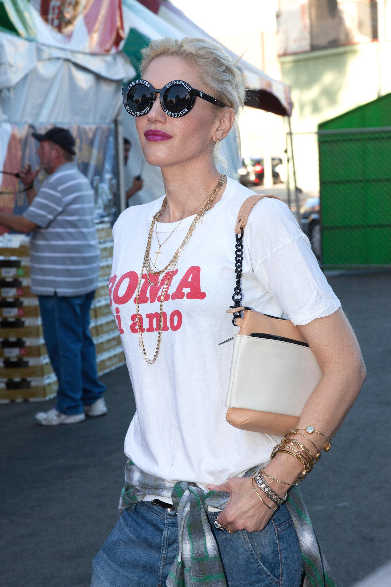 Gwen Stefani with I am Motherhood Sunglasses