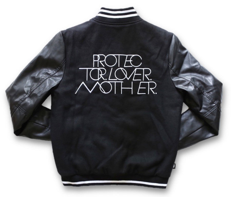 PROTECTOR LOVER MOTHER® | WOMENS BLACK/WHITE VARSITY JACKET WITH VEGAN LEATHER SLEEVES