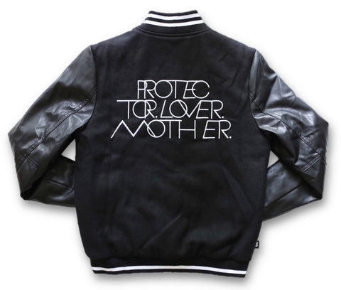 INTERLOCK PROTECTOR LOVER MOTHER® | WOMENS BLACK/WHITE VARSITY JACKET WITH VEGAN LEATHER SLEEVES