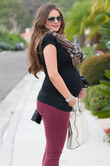 THE CROSSOVER BLACK MATERNITY TOP WITH FAUX LEATHER NECKLINE