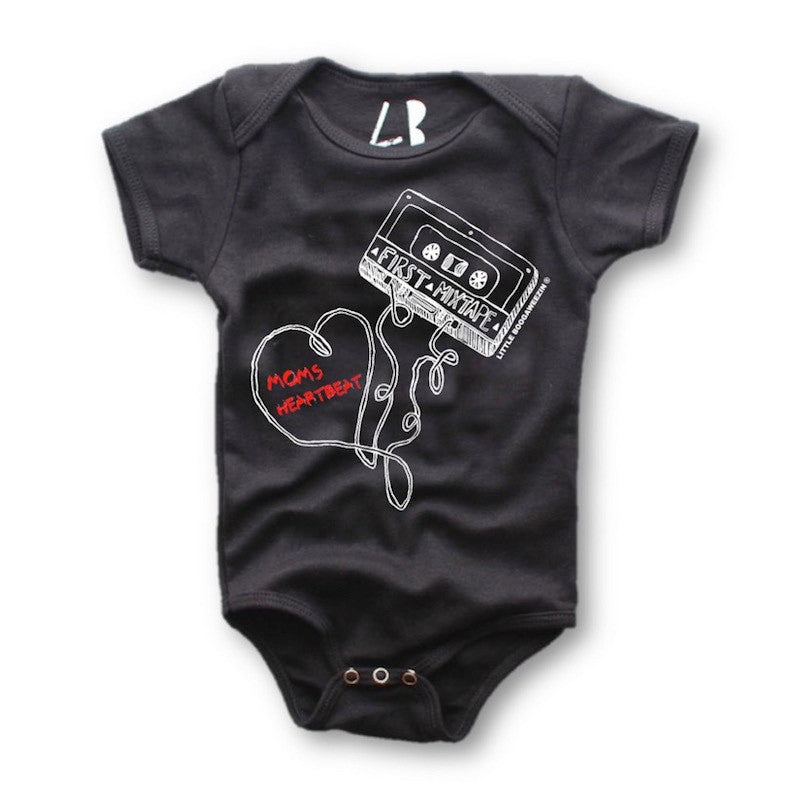 FIRST MIXTAPE MOMS HEARTBEAT | BLACK BABY ONE-PIECE