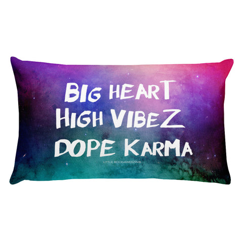 BIG HEART, HIGH VIBEZ, DOPE KARMA PILLOW - TEAL & PINK MULTICOLOR