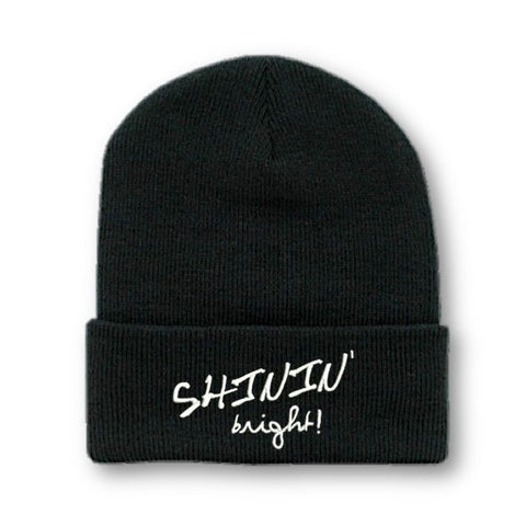 SHININ' BRIGHT EMBROIDERED BLACK BEANIE