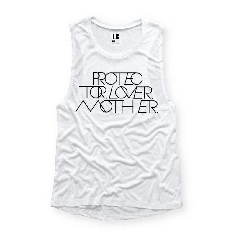 INTERLOCK PROTECTOR LOVER MOTHER® | WHITE MUSCLE TANK