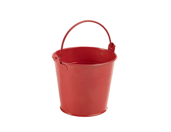Genware Galvanised Red Bucket 10x9cm