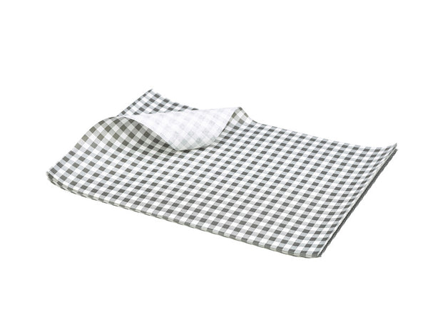 Genware Black Gingham Greaseproof Paper 25x20cm