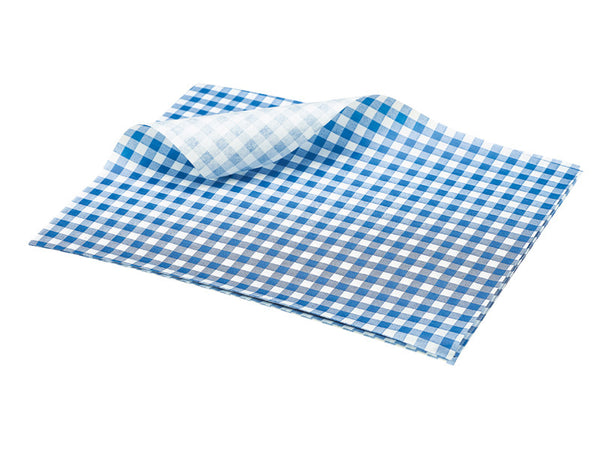 Genware Blue Gingham Greaseproof Paper 25x20cm