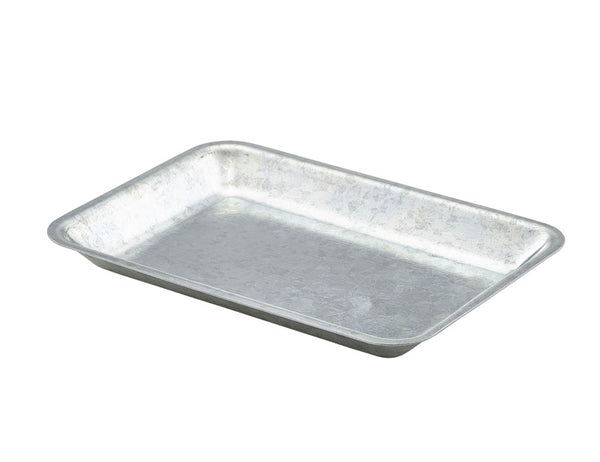 Genware Galvanised Rectangular Steel Tray 20x14cm
