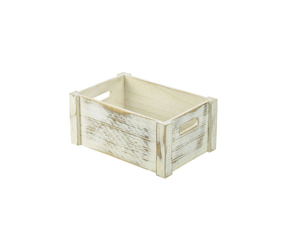 Genware Wooden Crate - Whitewashed 34x23x15cm