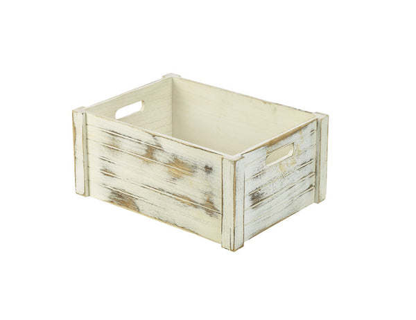 Genware Wooden Crate - Whitewashed 41x30x18cm