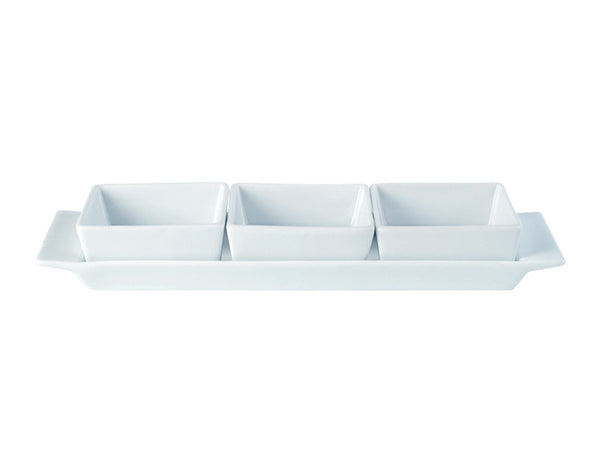 Creations Square Shaped Set of 3 Bowls & Tray 29x9cm