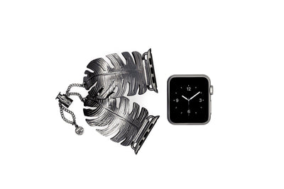 The Catalina Space Gray Leaf Apple Watch Jewelry Band by The Ultimate Cuff