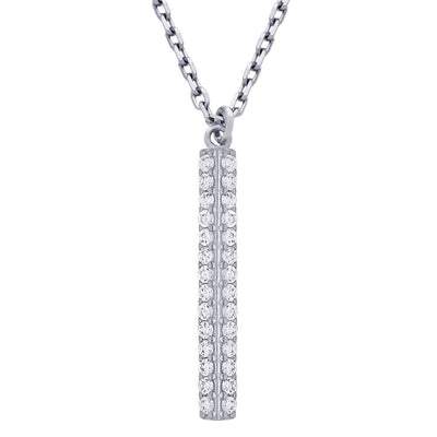 Double row Sterling Silver CZ necklace