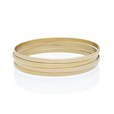 Set of 4 Gold Bangle Bracelets