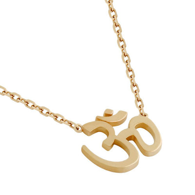 Closeup of Rose Gold Om Necklace