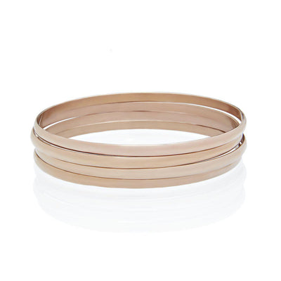 Set of 4 Rose Gold Bangle Bracelets