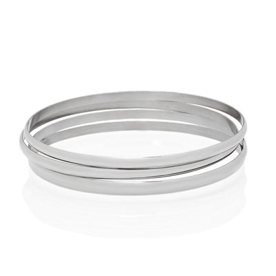 Set of 4 Silver Bangle Bracelets