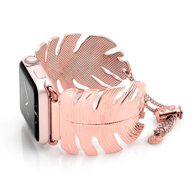 The Catalina Rose Gold Leaf Apple Watch Jewelry Band by The Ultimate Cuff