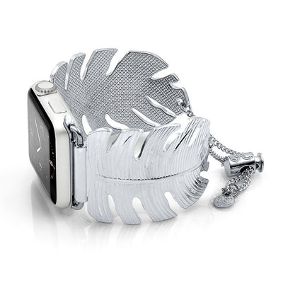 The Catalina Silver Leaf Apple Watch Jewelry Band by The Ultimate Cuff