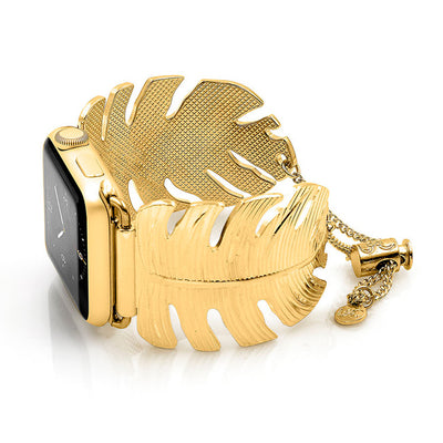 The Catalina Gold Leaf Apple Watch Jewelry Band by The Ultimate Cuff