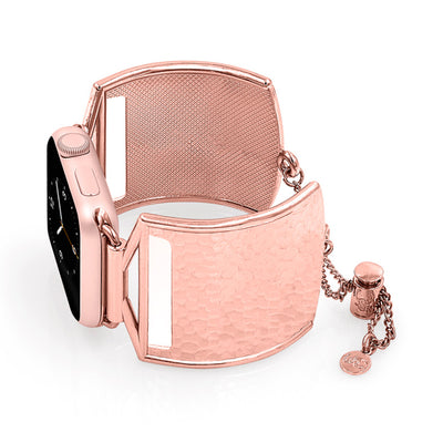 The Coco Rose Gold Hammered Metal Apple Watch Jewelry Band by The Ultimate Cuff