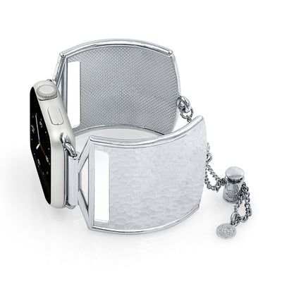 The Coco Silver Hammered Metal Apple Watch Jewelry Band by The Ultimate Cuff