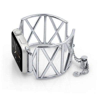 Diana X-Shaped Silver Apple Watch Jewelry Band