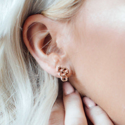 Honeycomb earring rose gold