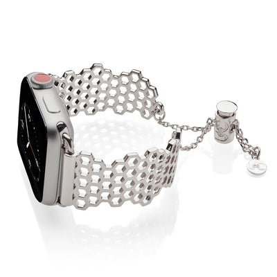 The Honey Honeycomb Silver Apple Watch Jewelry Band by The Ultimate Cuff