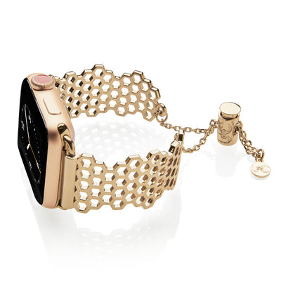 The Honey Honeycomb Gold Apple Watch Jewelry Band by The Ultimate Cuff