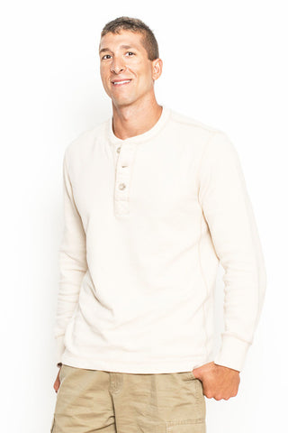 Beige Long Sleeve Thermal with Button 1/4 Closure