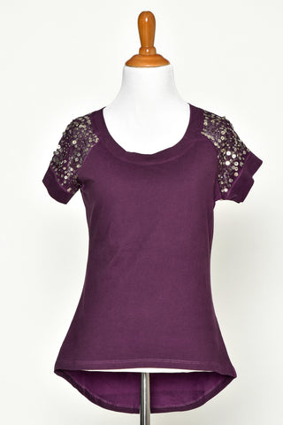 Purple Sequin Short Sleeve Tee