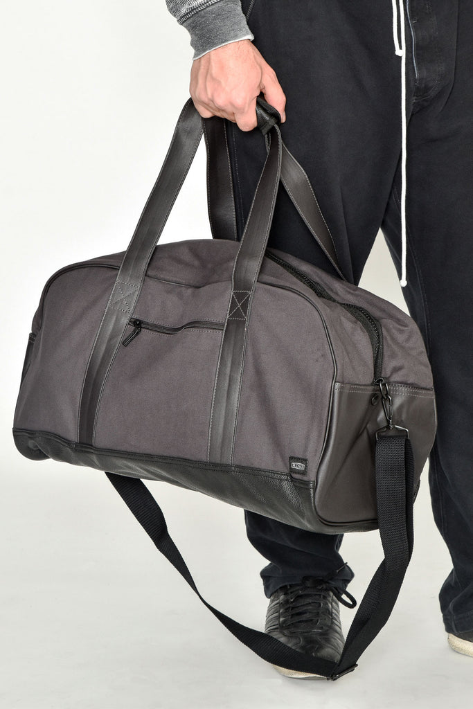 Grey and Black Duffle Bag