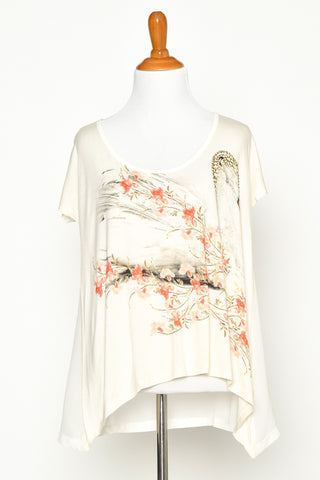 White Floral Pattern Short Sleeve Tee