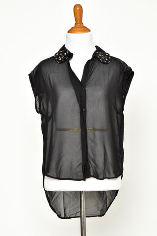 Black Sleeveless Sheer Shirt