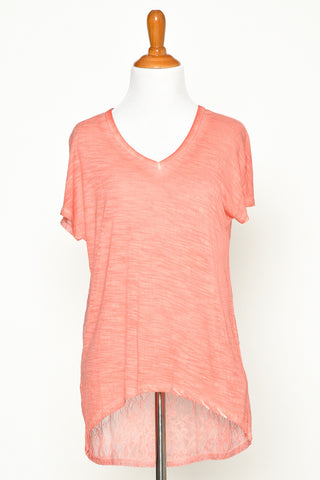 Peach Short Sleeve V-Neck Tee