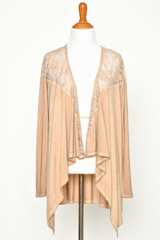 Tan Waterfall Drape Open Cardigan