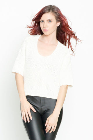 Cropped Short Sleeve Knit Top