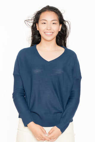 Blue Lightweight V-Neck Sweater