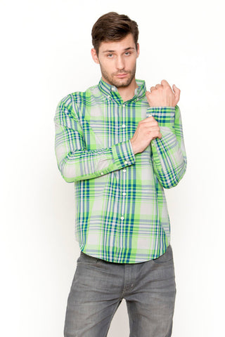 Green Plaid Woven Top
