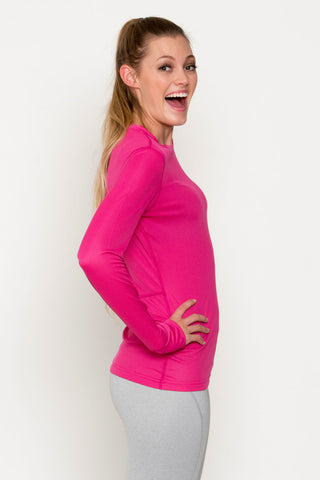 Long Sleeve Active Crew Neck Top With Thumb Opening in Sleeve