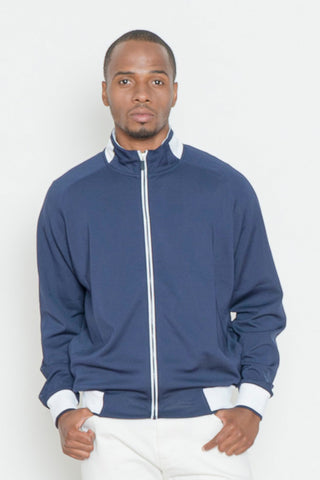 Navy Full-Zip Active Knit